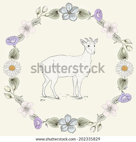Hand drawn goat and floral frame. Ornate colorful illustration. Vintage engraving style. Raster version - stock photo