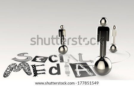hand drawn graphic word SOCIAL MEDIA and 3d human link sign as concept - stock photo