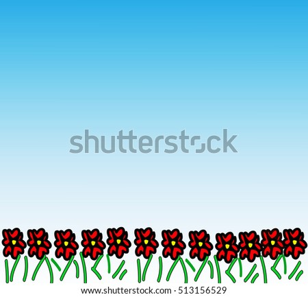 Hand drawn green grass with red flower. Seamless kids drawing background. illustration