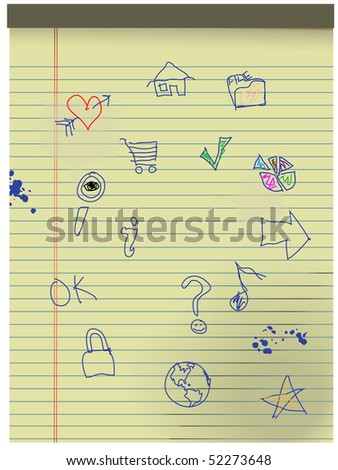 Hand drawn Grunge Kids Icons in blue ink on pad of yellow legal paper. - stock photo
