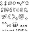 Hand-drawn, grungy font character symbol set. - stock photo
