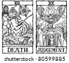 Hand-drawn, grungy, textured Tarot cards depicting the concept of Death and Judgment. - stock vector
