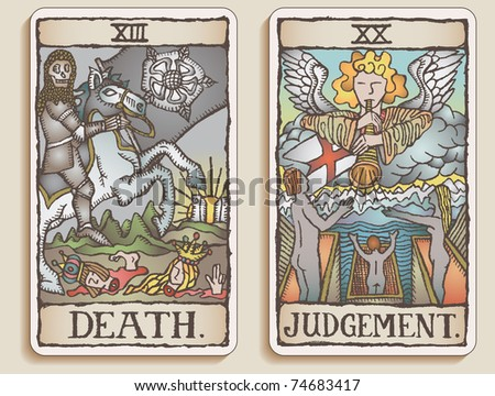 Hand-drawn, grungy, textured Tarot cards depicting the concept of Death and Judgment. - stock photo