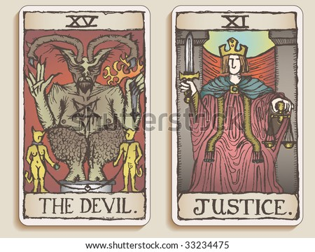 Hand-drawn, grungy, textured Tarot cards depicting The Devil and Justice. - stock photo