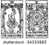 Hand-drawn, grungy, textured Tarot cards depicting the Hanged Man and the Wheel of Fortune. - stock photo