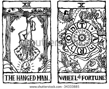 Hand Drawn Grungy Textured Tarot Cards Depicting The Hanged Man And Wheel
