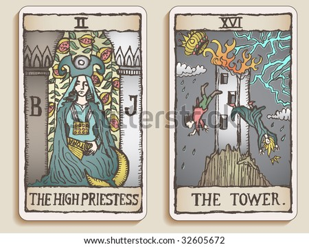 Hand-drawn, grungy, textured Tarot cards depicting the High Priestess and the Tower. - stock photo