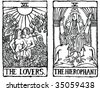 Hand-drawn, grungy, textured Tarot cards depicting the Lovers and the Hierophant. - stock vector