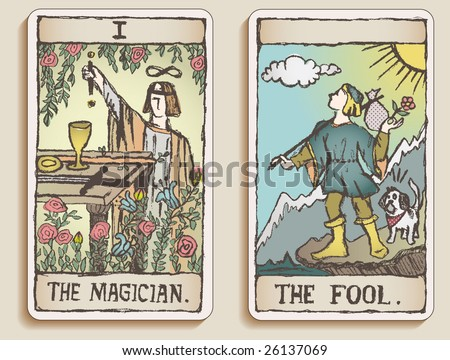 Hand-drawn, grungy, textured Tarot cards depicting the Magician and the Fool. - stock photo