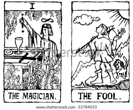 Hand-drawn, grungy, textured Tarot cards depicting the Magician and the Fool.