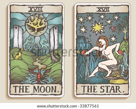 Hand-drawn, grungy, textured Tarot cards depicting the Moon and the Star. - stock photo