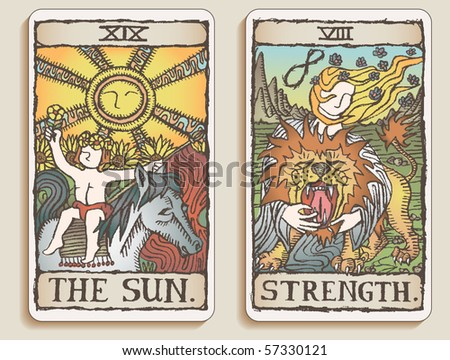 Hand-drawn, grungy, textured Tarot cards depicting the Sun and the concept of Strength. - stock photo