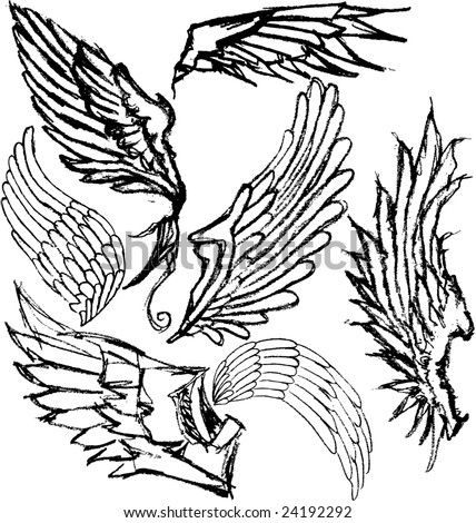 Hand-drawn grungy wings. Set of 7 variations. - stock photo