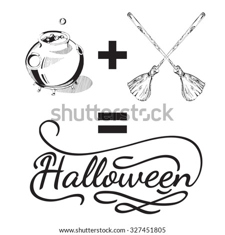 Hand drawn Halloween design elements. Halloween icon with calligraphy. Broom, cauldron, shape. Hand drawn typography poster. Black and white Halloween posters - stock photo