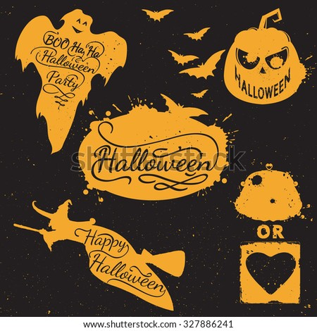 Hand drawn Halloween design elements. Halloween icon with calligraphy. Witch, bat, pumpkin, spider, ghost, shape. Hand drawn typography poster - stock photo