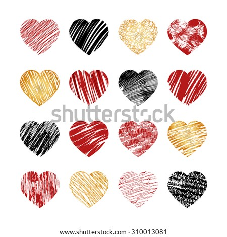 Hand drawn heart icons for valentines and wedding. Sign, drawing marriage set, collection silhouette pattern decor, amour decorative illustration - stock photo