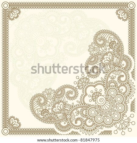 Hand-Drawn henna Mehndi Abstract Flowers. Vector illustration. Raster version.