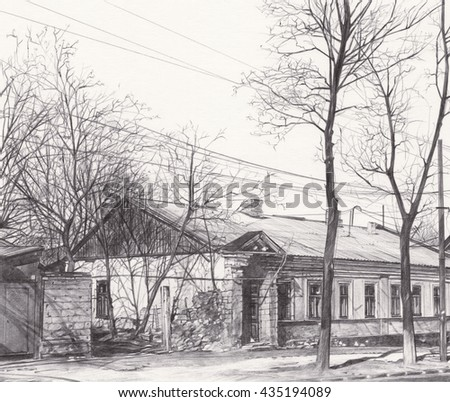 Hand drawn historical architecture. Old house with roofs in outline style, street perspective view.