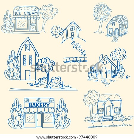 Hand Drawn House Icons - stock photo