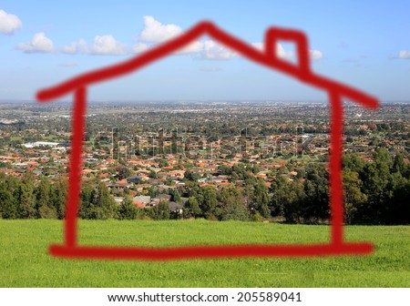 Hand-drawn house shape over picture of suburbia seen from grassy hill - stock photo