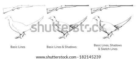 Hand drawn hunting gun and pheasant - stock photo
