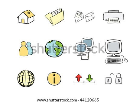 Hand drawn icon set : computer & web(vector also available)