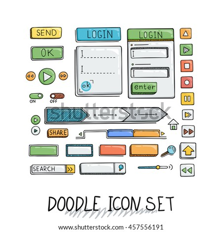 Hand drawn icons set website development doodles elements. Collection of web or decorating elements.