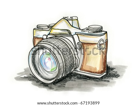 Hand drawn illustration of a photo camera on white background - stock photo