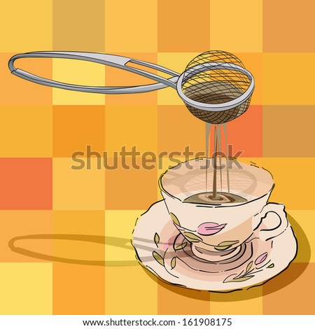 hand drawn illustration of a tea strainer and a cup over a tablecloth pattern with squares - stock photo