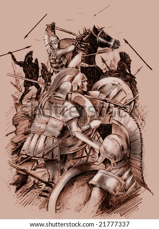 Hand drawn illustration of an ancient battle scene, with warriors and cavalry. Sketch style