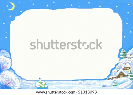 Hand drawn illustration of Christmas frame with night winter scene . Great design for stationary template , greetings cards , photo frame and other print or web  projects . - stock photo
