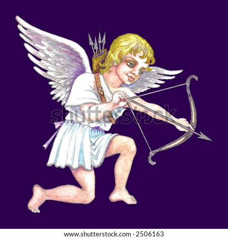 Hand drawn illustration of cupid with bow and arrow over purple background . - stock photo