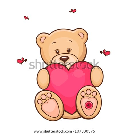 Hand drawn illustration of cute teddy bear with red heart. - stock photo