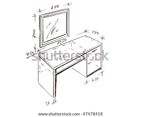 Hand drawn illustration of dressing table furniture isolated on white.