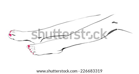 Hand drawn illustration of female legs. Pedicure, beauty and SPA.