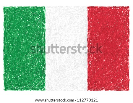 hand drawn illustration of flag of Italy.