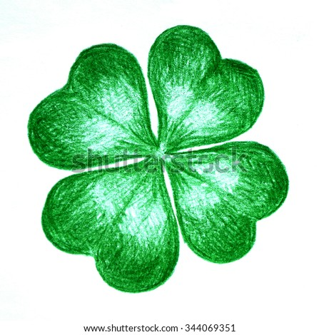 Hand drawn illustration of four leaf clover over white background - stock photo