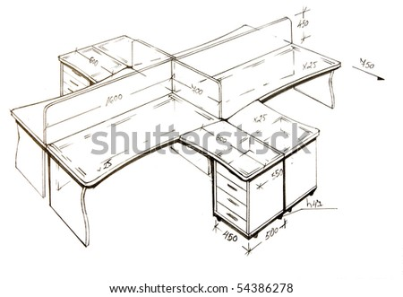 Hand drawn illustration of furniture isolated on white. - stock photo