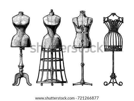 hand drawn illustration of mannequins set in vintage engraved style old fashion dummy dress - Dress Frame
