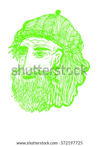 Hand drawn illustration of old man, green and white drawing. drawing cartoon, Grey Hair - stock photo
