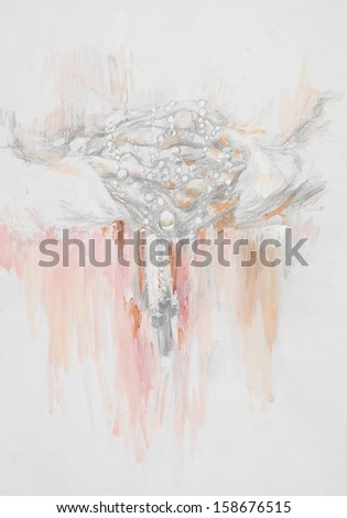 hand drawn illustration of priest hands holding a cross, pencil and watercolor technique - stock photo