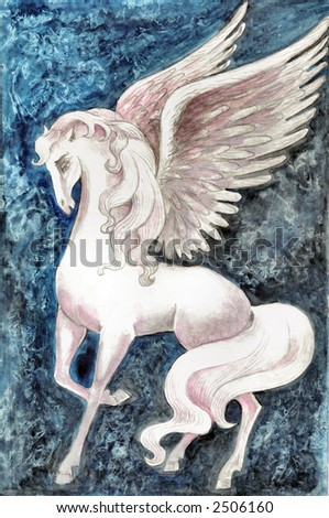 Hand drawn illustration of white pegasus over blue fantasy background . - stock photo