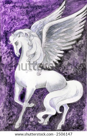 Hand drawn illustration of white pegasus over purple fantasy background . - stock photo