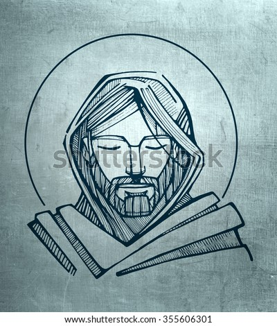 Hand drawn illustration or drawing of Jesus Christ Serene Face - stock photo