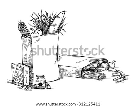 Hand drawn illustration - Paper Bags With Food. Sketch.  - stock photo