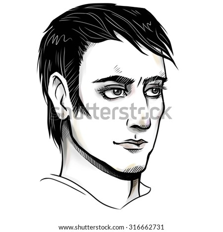 Hand drawn illustration. Portrait of a fashionable man. Drawing of a young guy