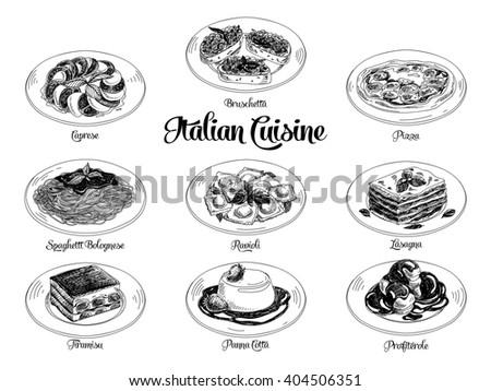Hand drawn illustration with italian food. Sketch.  - stock photo