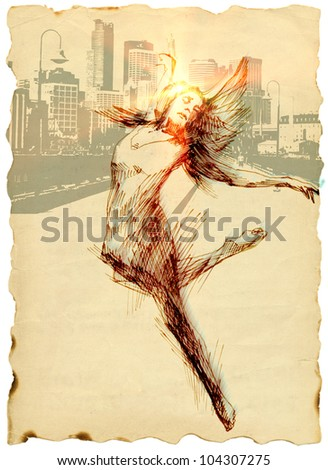 Hand-drawn image - Modern dancer in front of the panorama of skylines. Mixed media. Technical black marker, background: rough black ink. Post processing - Sunrise. - stock photo
