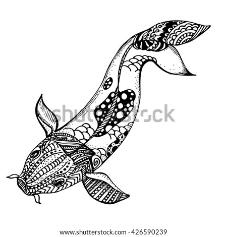 hand drawn ink carp koi on white background. Coloring page -  design for adults, poster, print, t-shirt, invitation, banners, flyers.