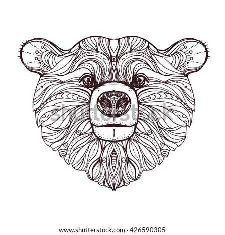 Tiger head tattoo vector illustration stock vector for Bear head coloring page